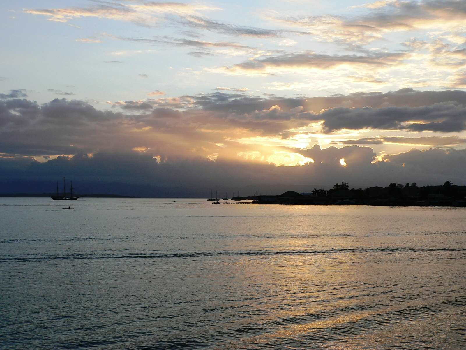Bocas del Toro, Panama sailboat and sunset