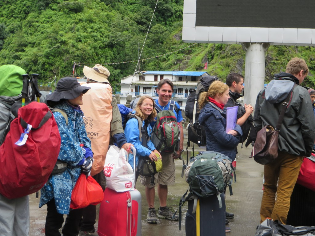 Waiting to cross the border from Tibet into Nepal.