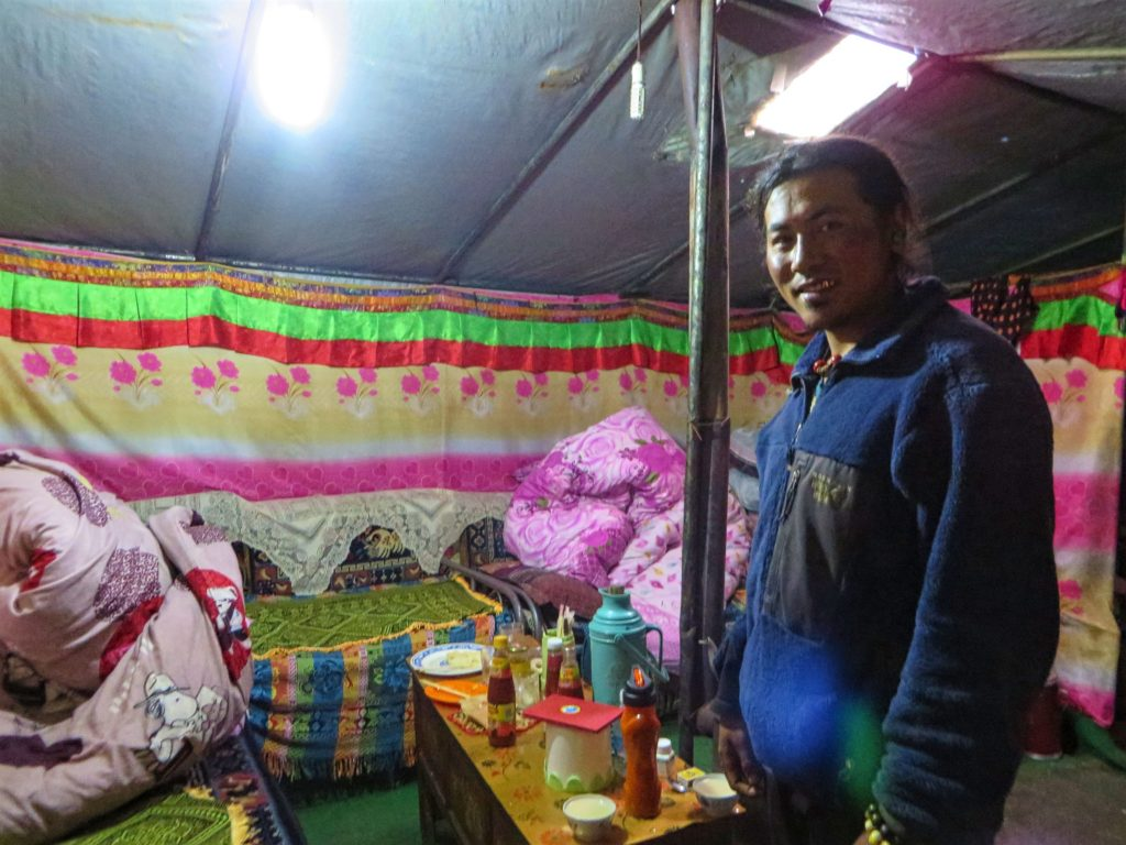 Inside the yak tent at Everest Base Camp.