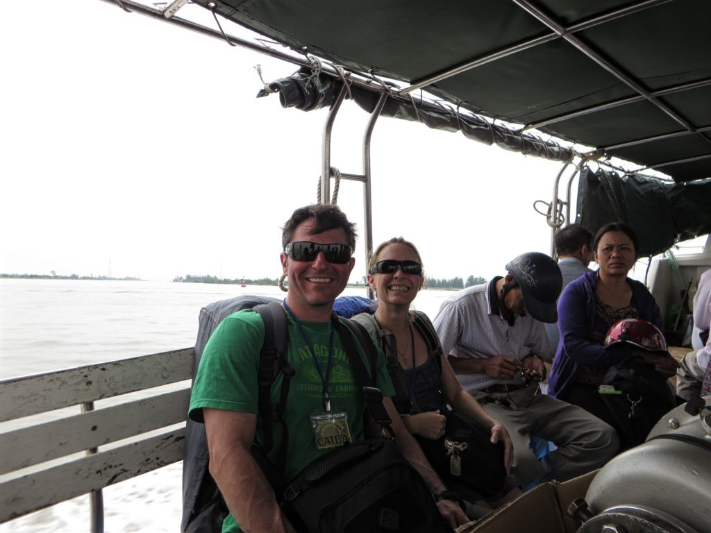 Us and the scooters on the boat to Cat Ba.