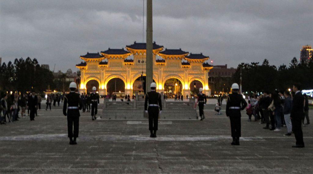 Flag ceremony at Chiang Kai-shek Memorial Hall.