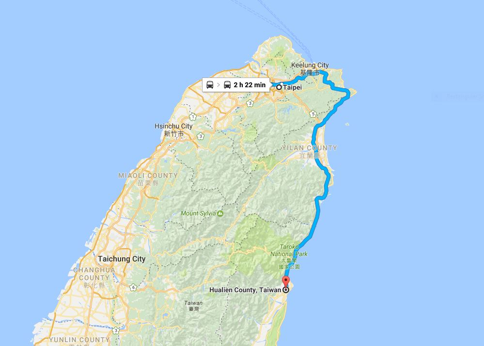 Train route to Hualien.