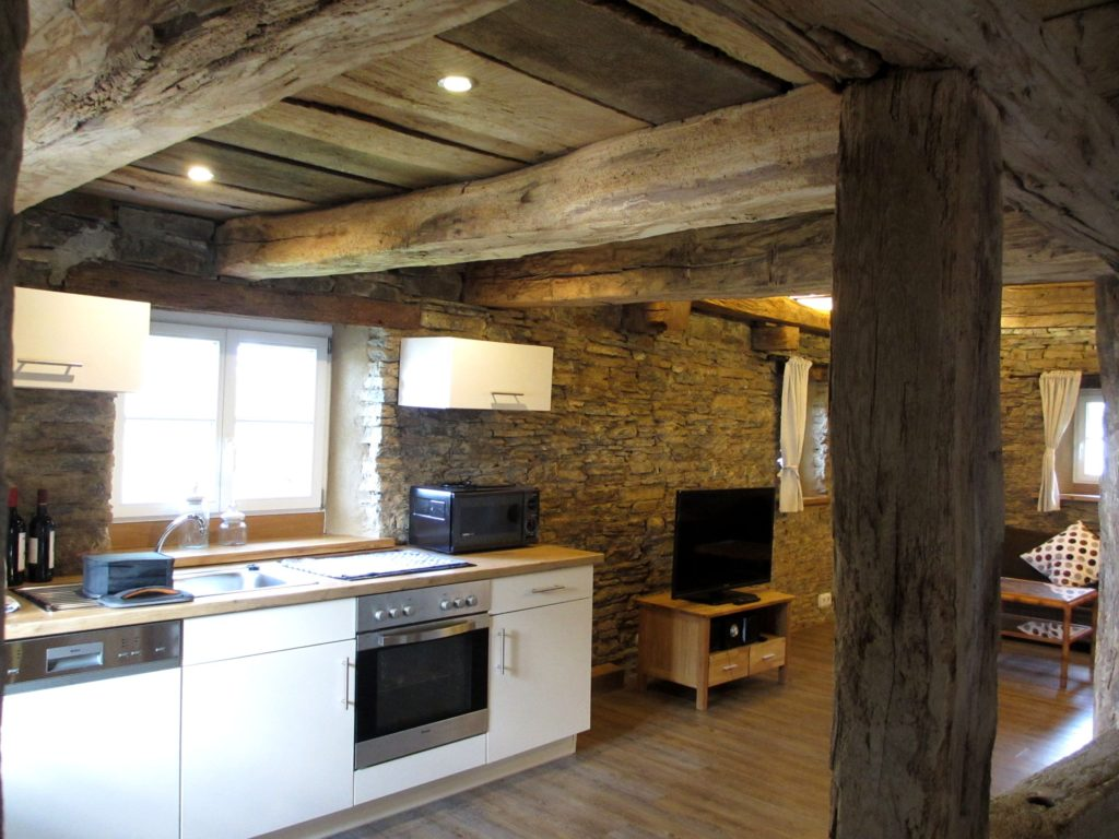 The kitchen in the 400 year old stable turned apartment.
