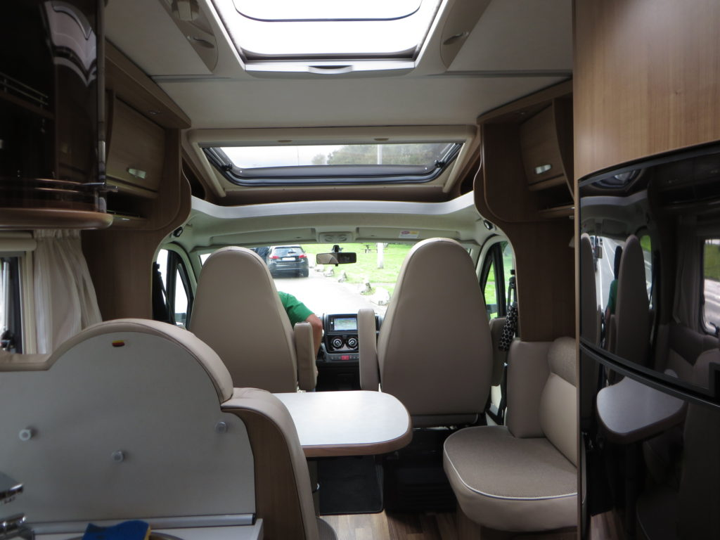 The Hymer on the inside. It's cozy but the right space for us.