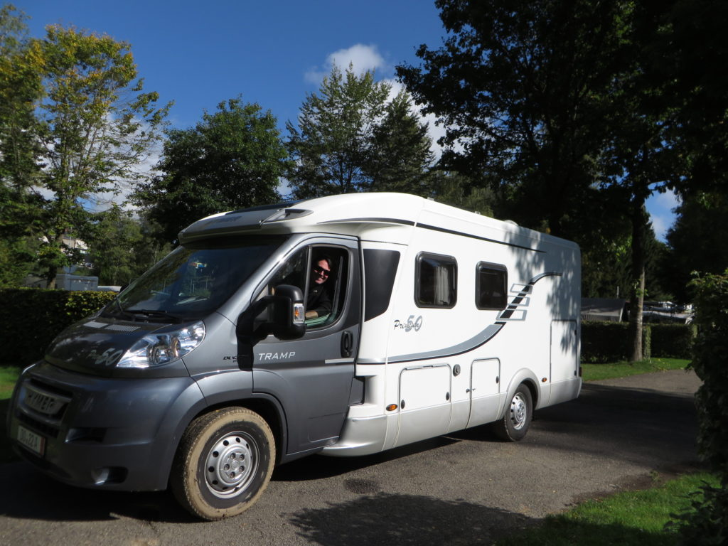 The Hymer, unstuck from the mud and ready to go.