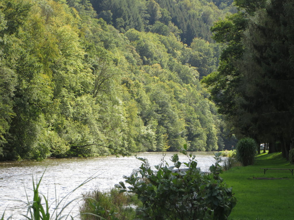 Lovely river at the Belgian campsite.