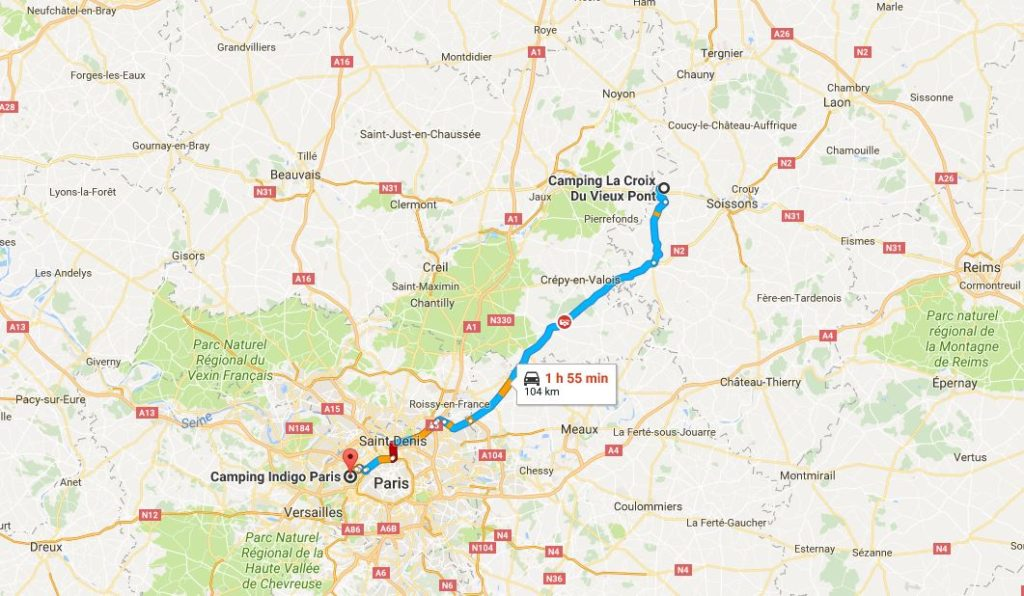 Pretty straight forward route to Paris.