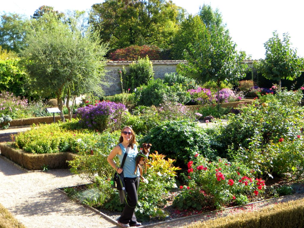 Enjoying one of the gardens at a winery near Beaune.