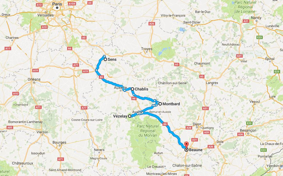 Sens to Beaune with a few stops on the way.