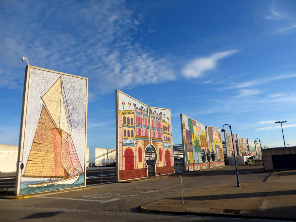 Murals at the marina.