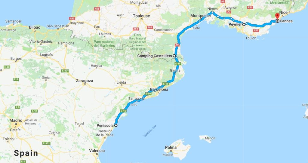 Route from Peniscola to Cannes.