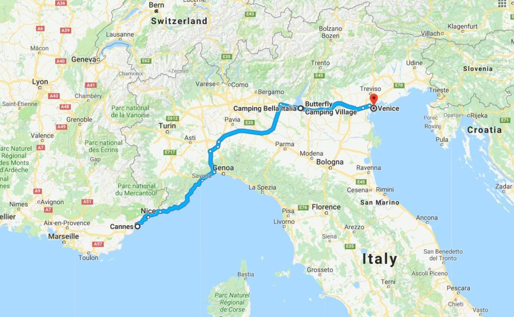Our route from Cannes to Venice.