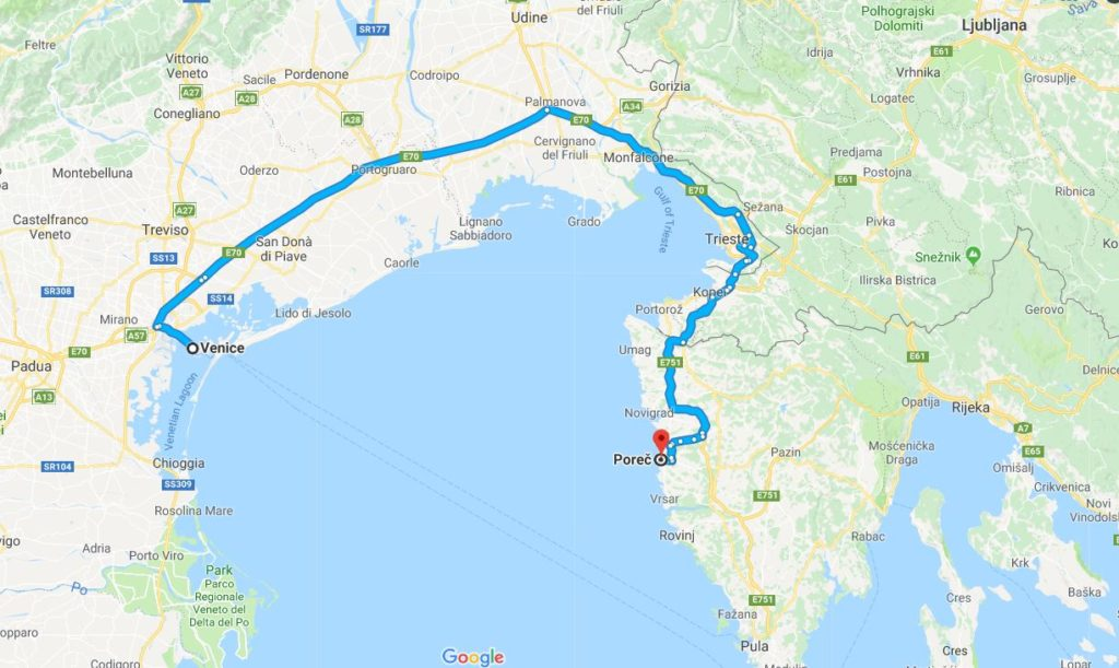 Our route to Croatia.