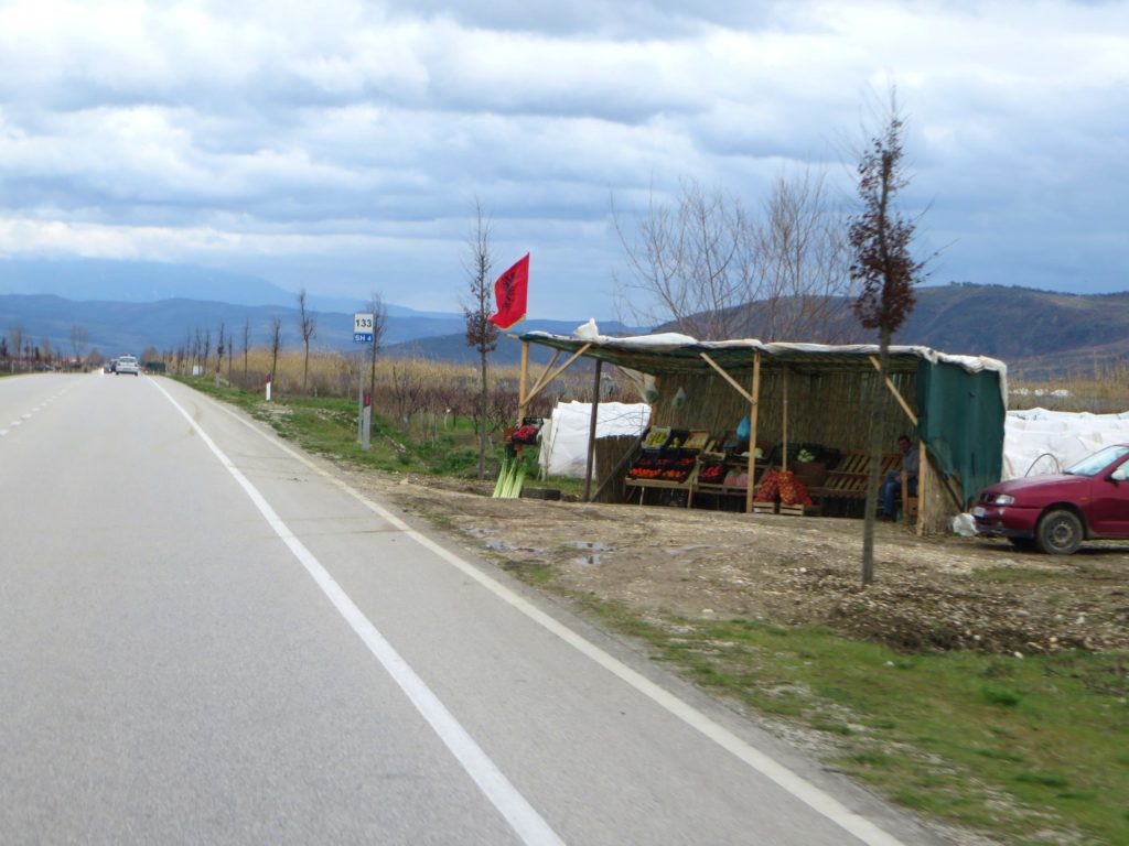 Lots of road side vendors in Albania.